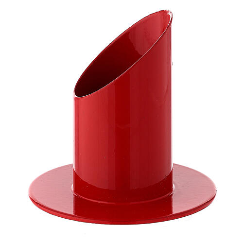Red metal candle holder 1 1/2 in 2