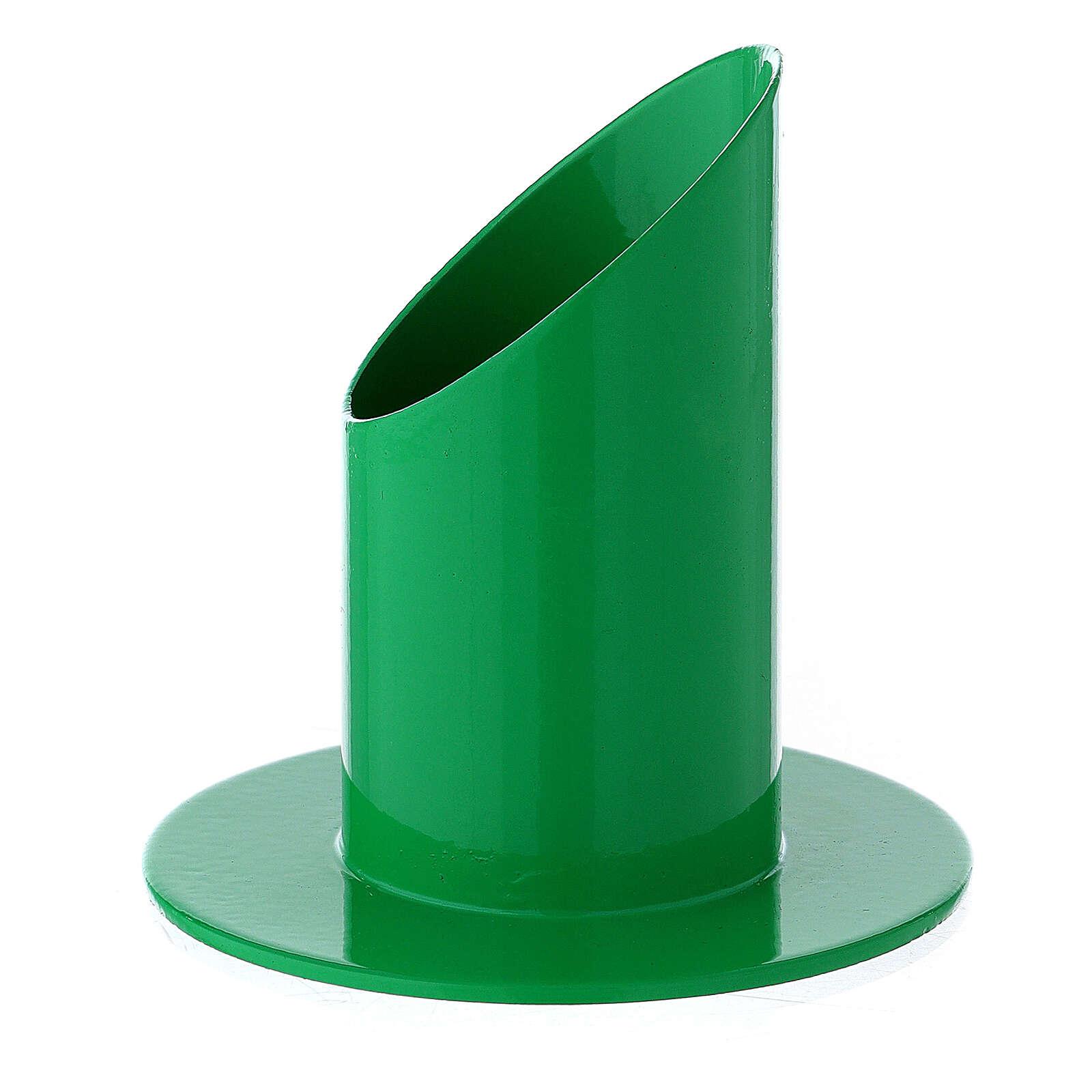 Portacandela 4 cm ferro verde acceso 3