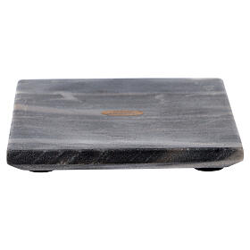 Square candle holder plate of natural stone 5 1/2 in s1
