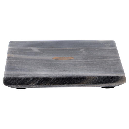 Square candle holder plate of natural stone 5 1/2 in 1