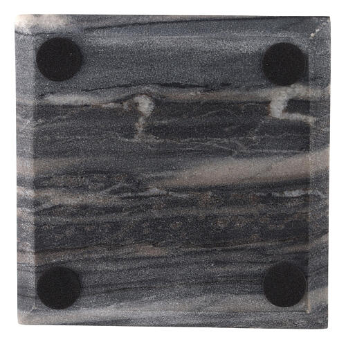 Square candle holder plate of natural stone 5 1/2 in 3