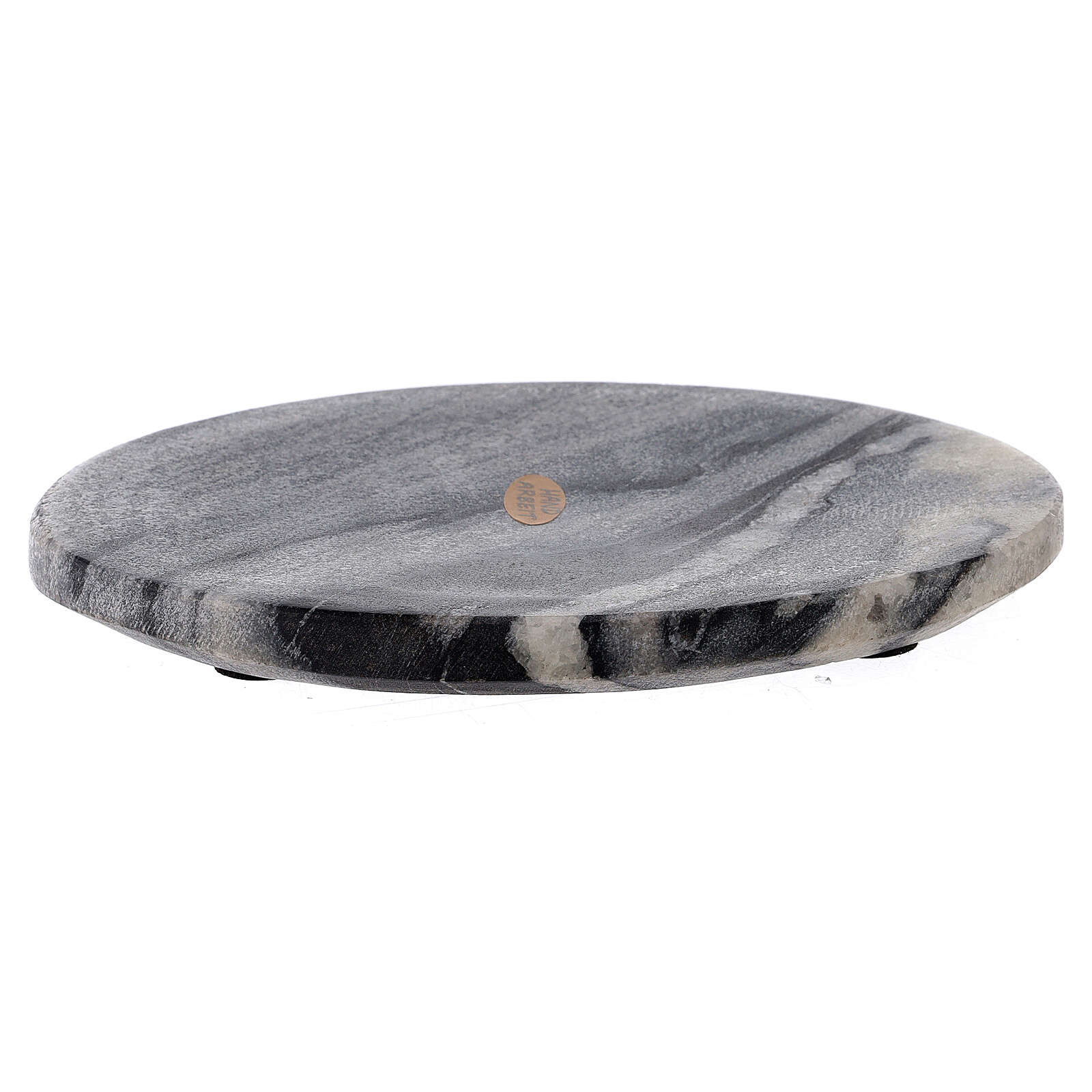 Oval candle holder plate of natural stone 6 3/4x4 3/4 in 3