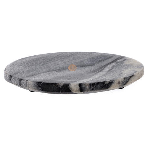 Oval candle holder plate of natural stone 6 3/4x4 3/4 in 1