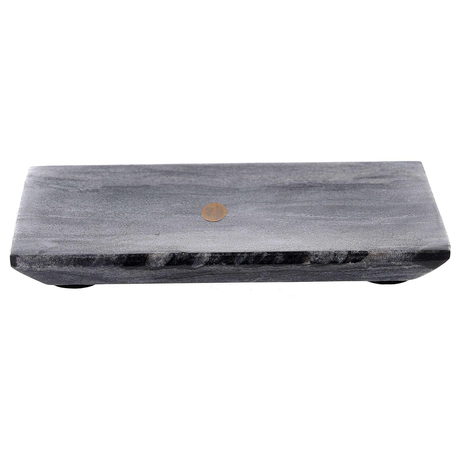 Assiette porte-bougie rectangulaire pierre naturelle 17x12 cm 3