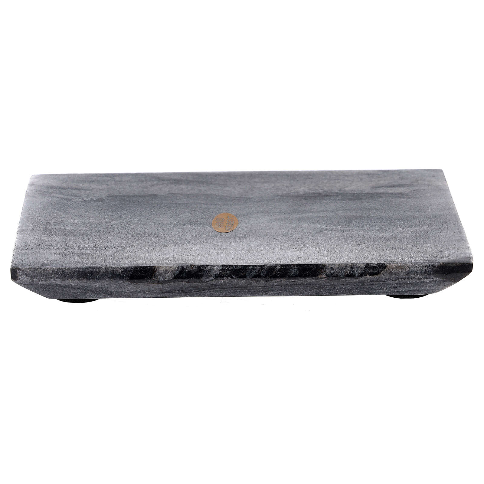 Rectangular candle holder plate of natural stone 6 3/4x4 3/4 in 3