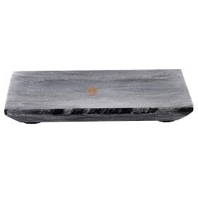 Rectangular candle holder plate of natural stone 6 3/4x4 3/4 in s1