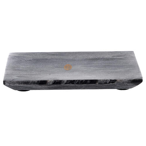 Rectangular candle holder plate of natural stone 6 3/4x4 3/4 in 1