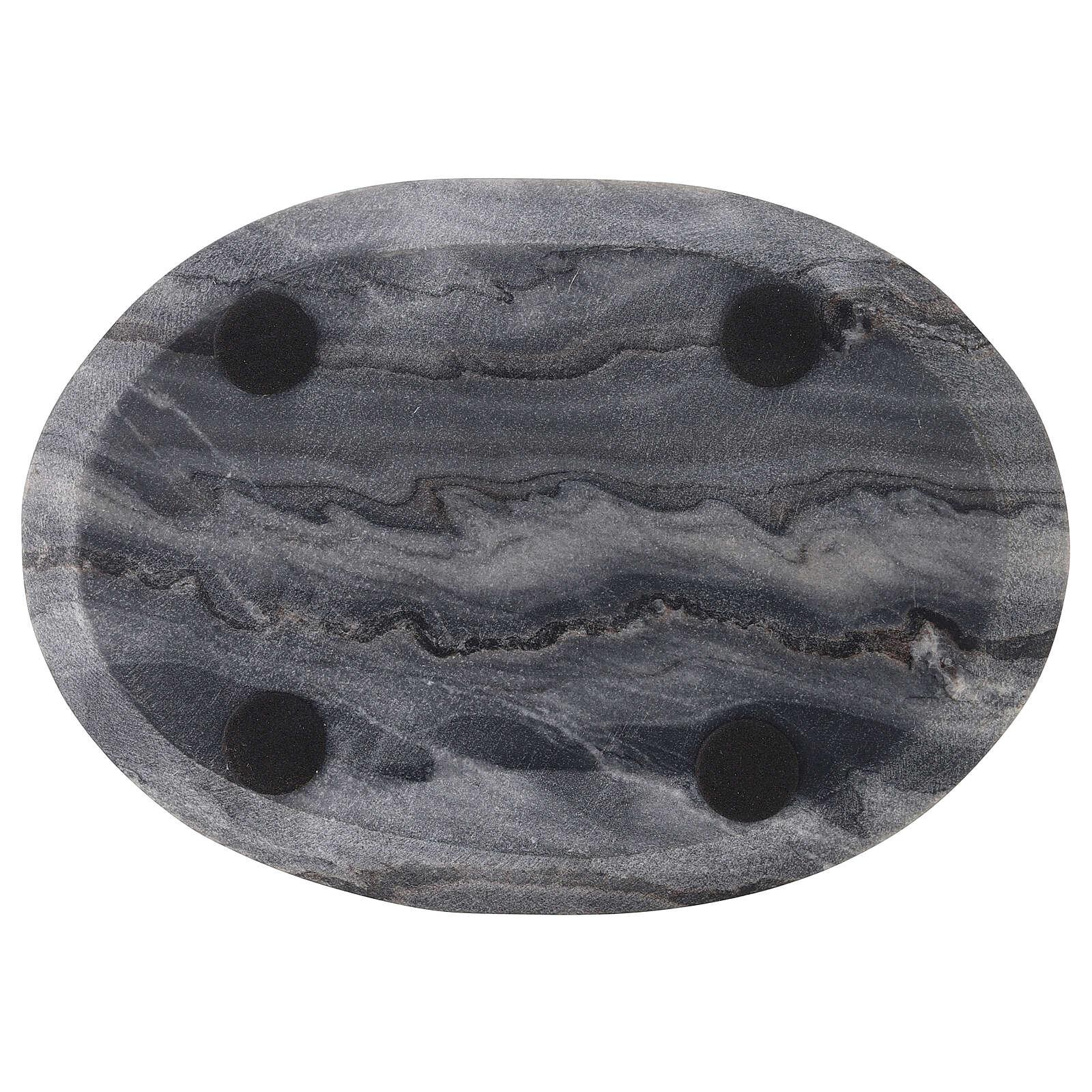 Plato ovalado portavela 20x14 cm piedra natural 3