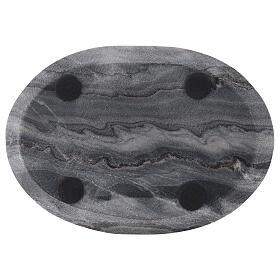 Plato ovalado portavela 20x14 cm piedra natural s3