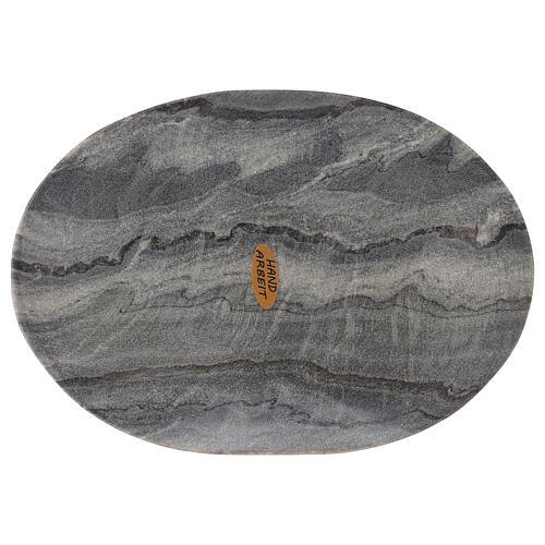Plato ovalado portavela 20x14 cm piedra natural 2