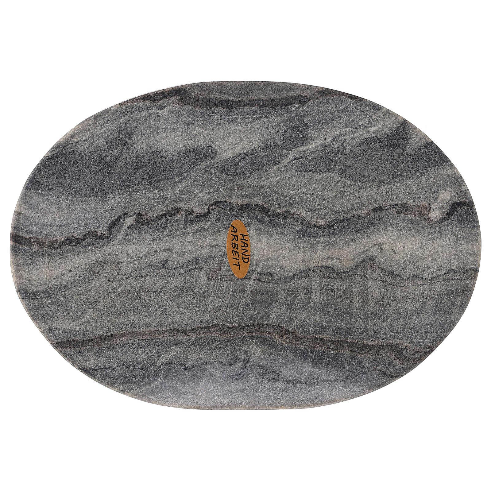 Assiette ovale porte-bougie 20x14 cm pierre naturelle 3