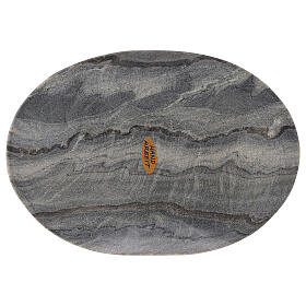 Assiette ovale porte-bougie 20x14 cm pierre naturelle s2