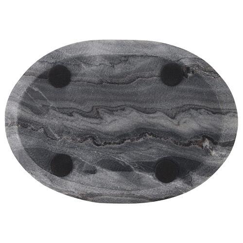 Piatto ovale portacandela 20x14 cm pietra naturale 3