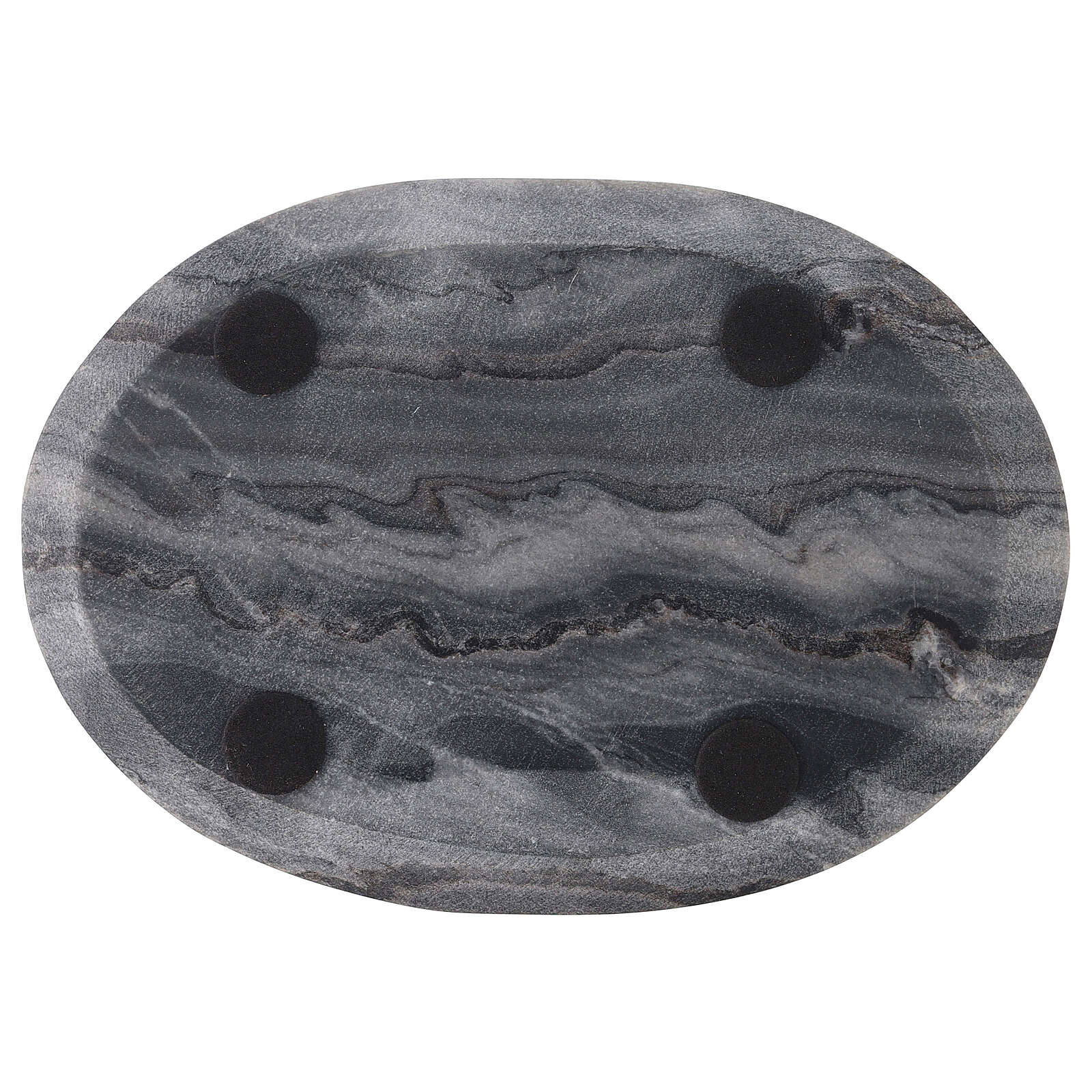 Oval candle plate of natural stone 8x5 1/2 in 3