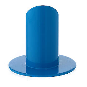 Blue metal candle holder mitered socket 1 1/4 in s3