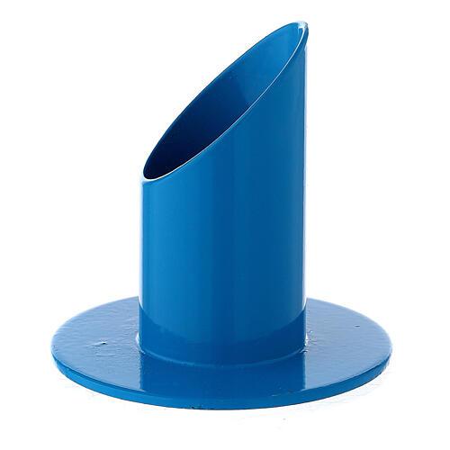 Blue metal candle holder mitered socket 1 1/4 in 2
