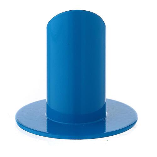 Blue metal candle holder mitered socket 1 1/4 in 3