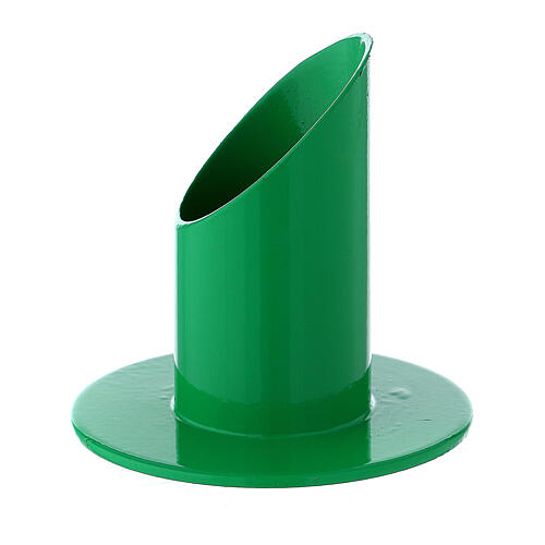 Green metal candle holder mitered socket 1 1/4 in 2