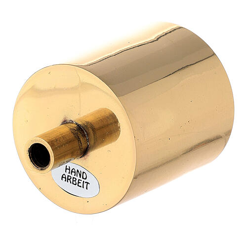 Bossolo portacandela 5 cm ottone dorato con vite 2