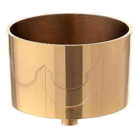 Bossolo portacandela 9 cm ottone dorato s1