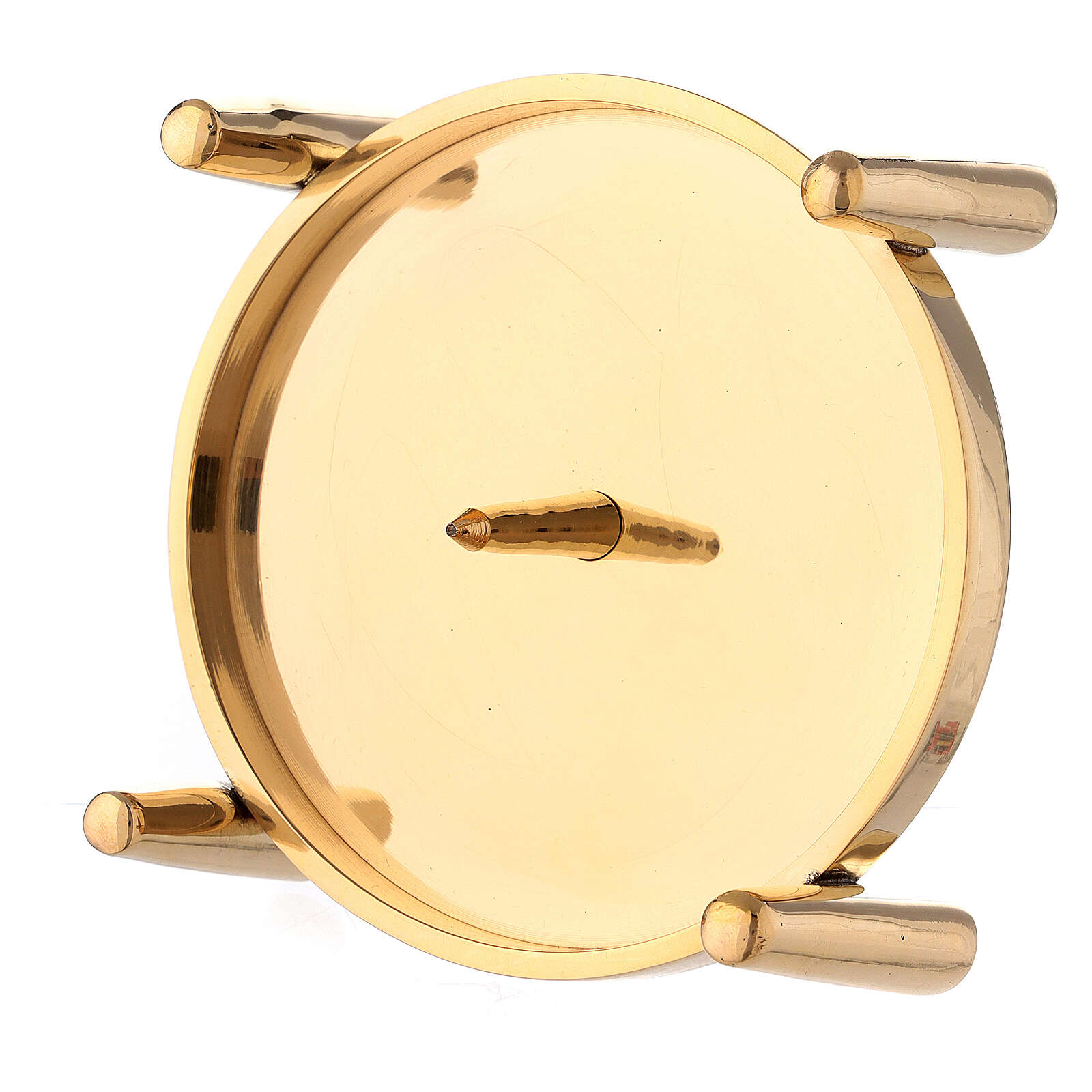 Candlestick with spike polished gold plated brass 4 in 4