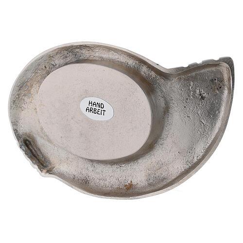 Portacandela ottone nichelato design ali 7x5 cm 3