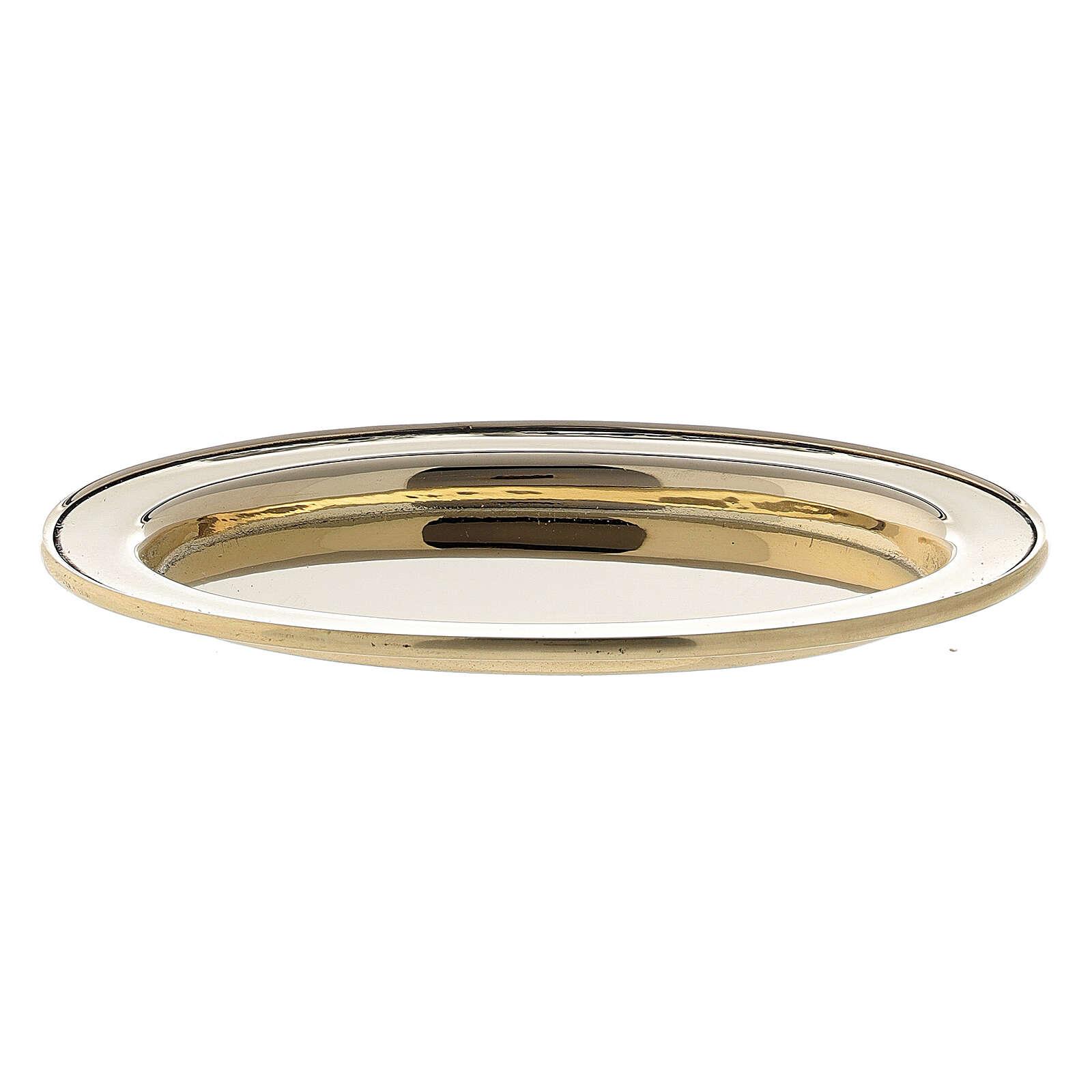 Assiette porte-bougie ovale bord rehaussé 9x6 cm laiton doré 3