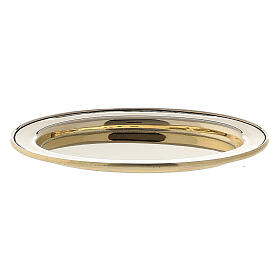 Assiette porte-bougie ovale bord rehaussé 9x6 cm laiton doré s1