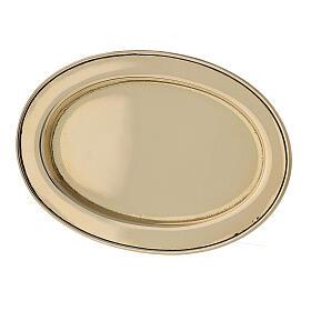 Assiette porte-bougie ovale bord rehaussé 9x6 cm laiton doré s2