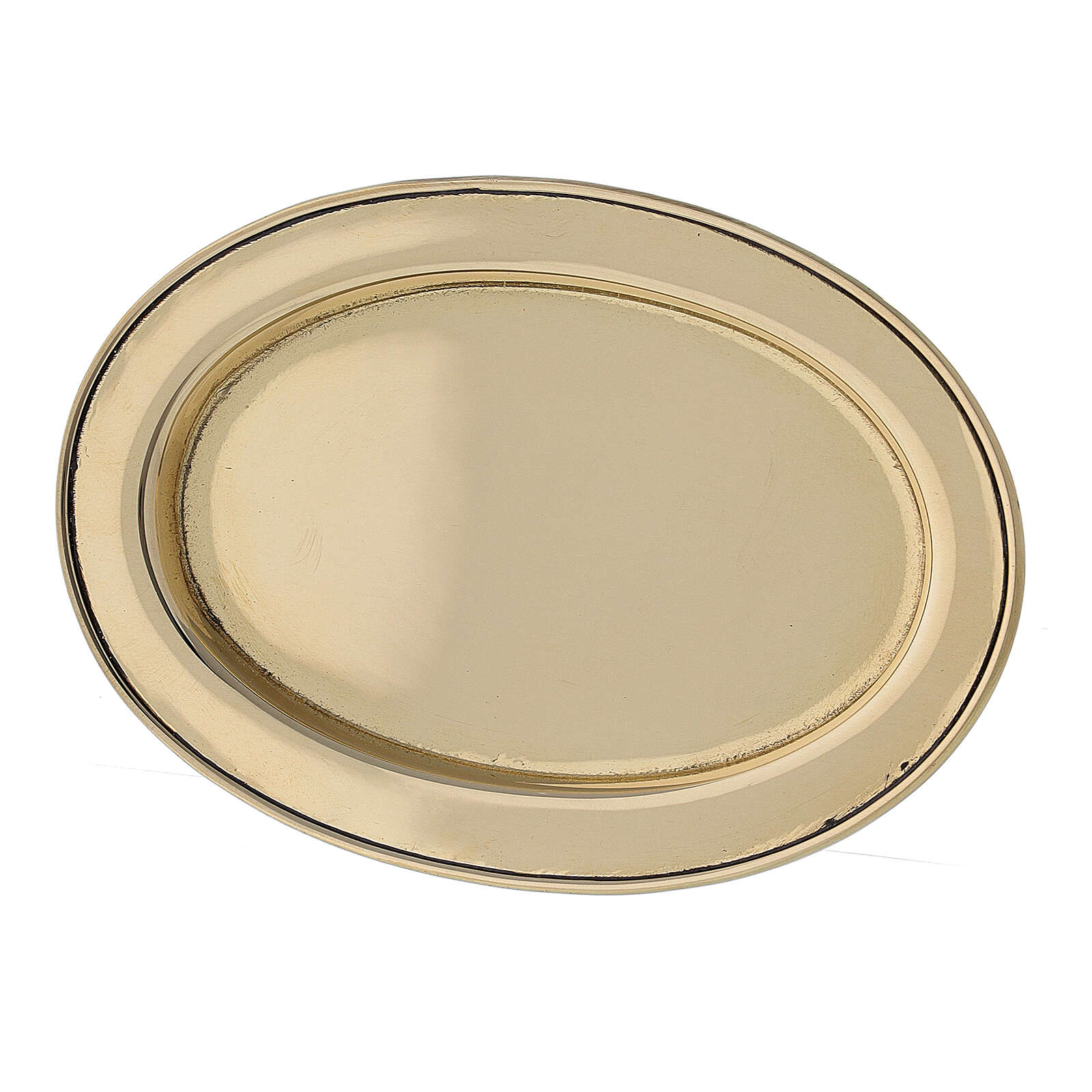 Piatto portacandela ovale bordo rialzato 9x6 cm ottone dorato 3