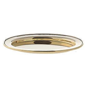 Piatto portacandela ovale bordo rialzato 9x6 cm ottone dorato s1