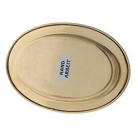 Piatto portacandela ovale bordo rialzato 9x6 cm ottone dorato s3