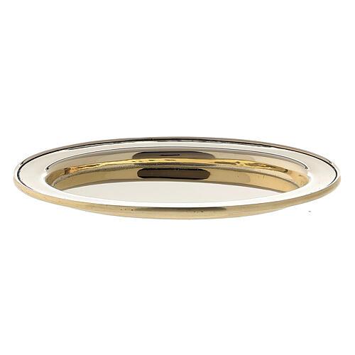 Piatto portacandela ovale bordo rialzato 9x6 cm ottone dorato 1