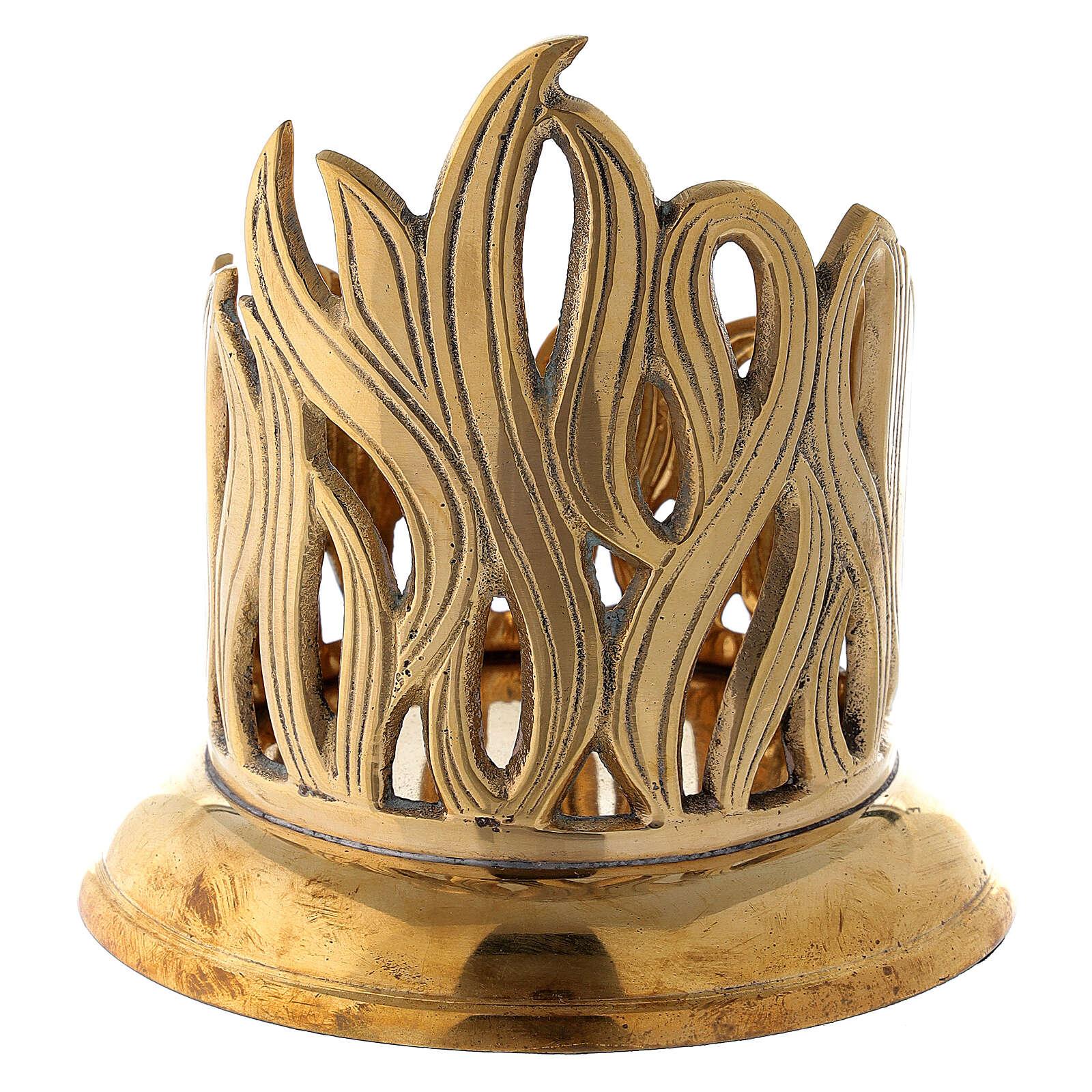 Porte-bougie bocal flammes dorées laiton 7 cm 4