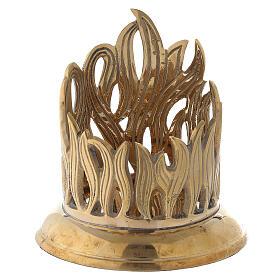 Porte-bougie bocal flammes dorées laiton 7 cm s1