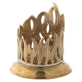 Porte-bougie bocal flammes dorées laiton 7 cm s2