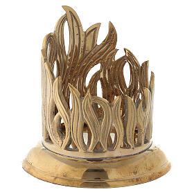 Porte-bougie bocal flammes dorées laiton 7 cm s3