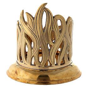 Porte-bougie bocal flammes dorées laiton 7 cm s4