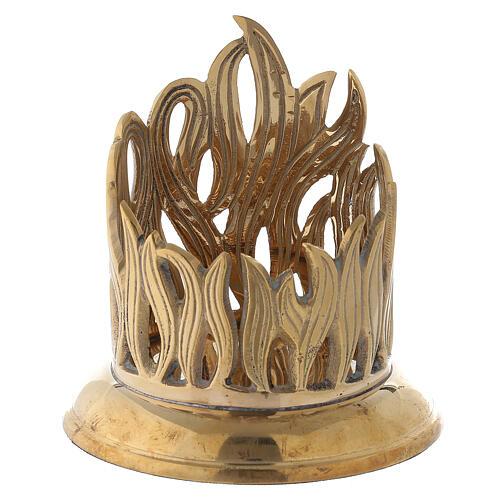 Porte-bougie bocal flammes dorées laiton 7 cm 1