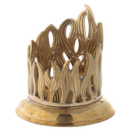 Porte-bougie bocal flammes dorées laiton 7 cm 2