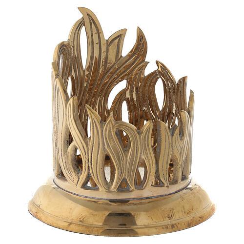 Porte-bougie bocal flammes dorées laiton 7 cm 3