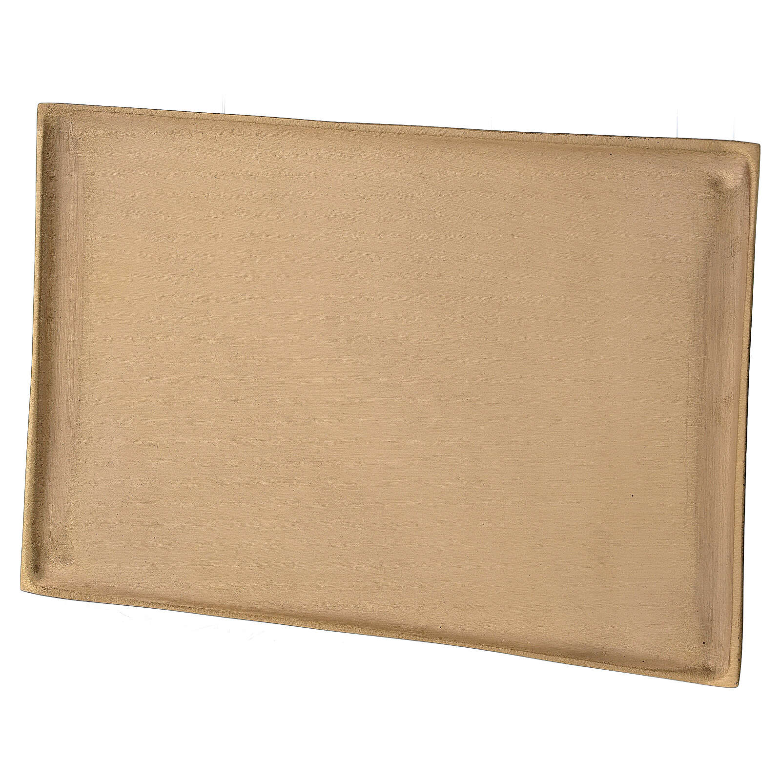 Plato portavela rectangular latón satinado 23x13 cm 3