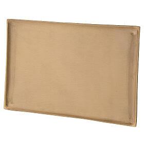 Plato portavela rectangular latón satinado 23x13 cm s2