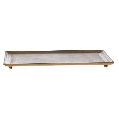 Plato portavela rectangular latón satinado 23x13 cm 1
