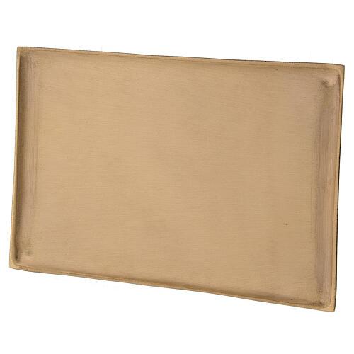 Plato portavela rectangular latón satinado 23x13 cm 2