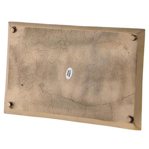 Piatto portacandela rettangolare ottone satinato 23x13 cm 3