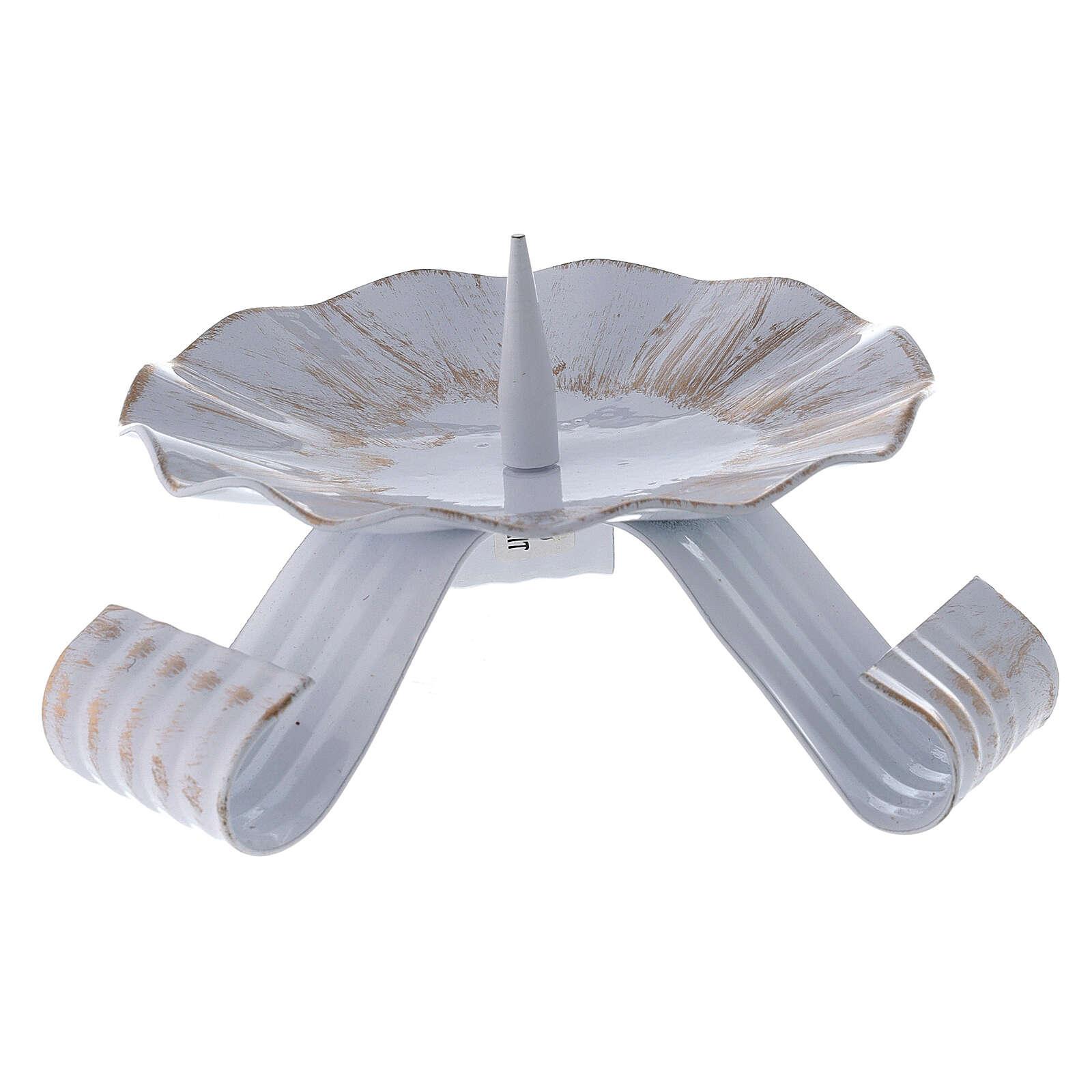 Portacandela punzone ferro bianco oro piedi arricciati 12,5 cm 3