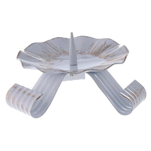 Portacandela punzone ferro bianco oro piedi arricciati 12,5 cm 1