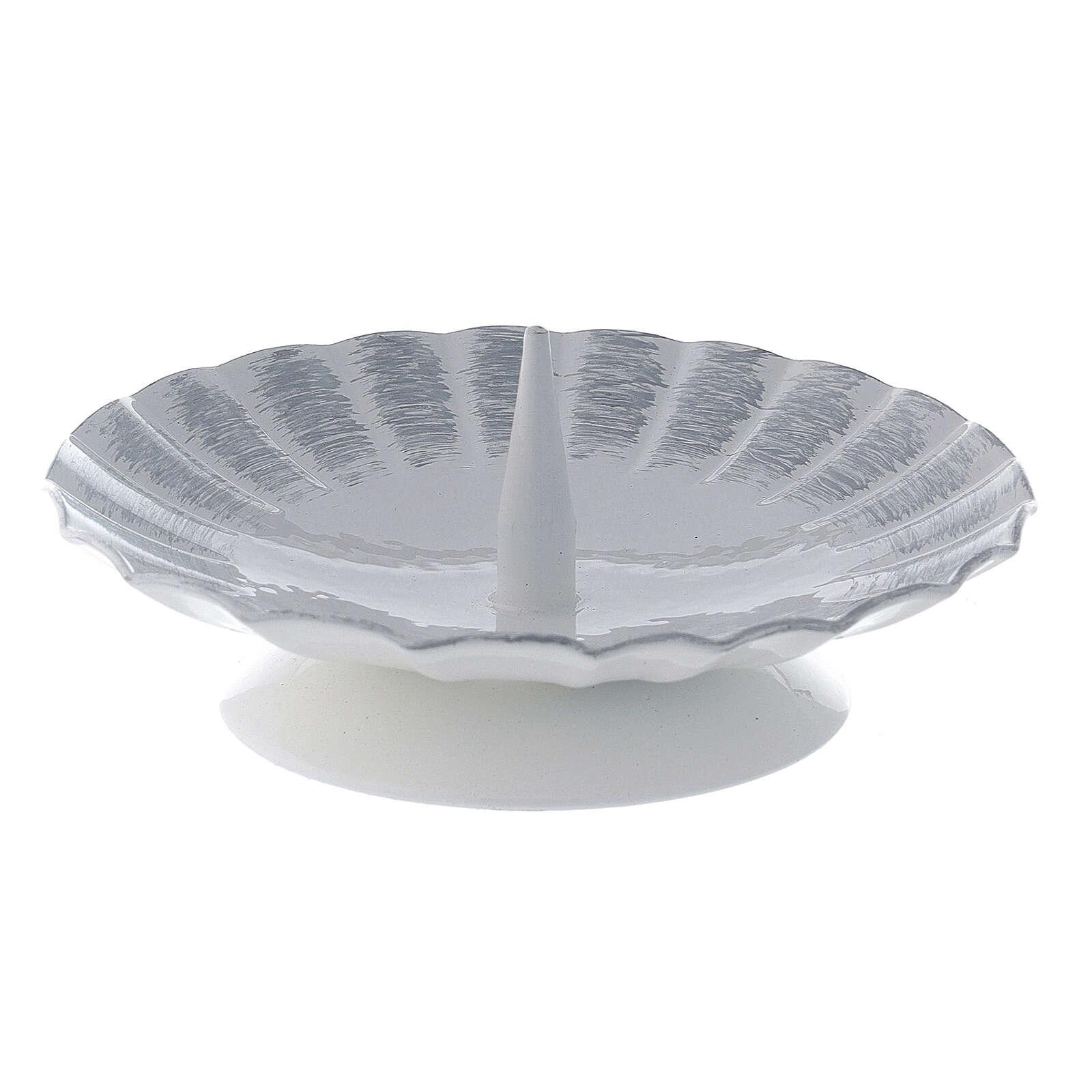 Bougeoir ondulé métal blanc argent pic bougie 9,5 cm 3