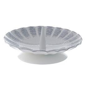 Bougeoir ondulé métal blanc argent pic bougie 9,5 cm s1